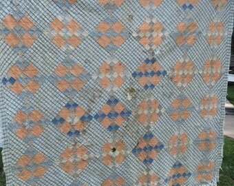 Vintage Well Loved Hand Quilted Blue and Peach Nine Patch Cutter Quilt