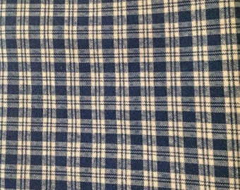 1 3/4 Yards of Vintage Blue and White Plaid Cotton Fabric