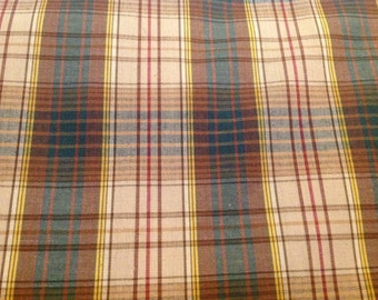 2 Yards of Vintage Green and Tan Plaid Cotton Fabric