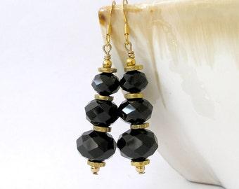 Black & Gold Earrings Little Black Dress Trending Fashion Jewelry For Women