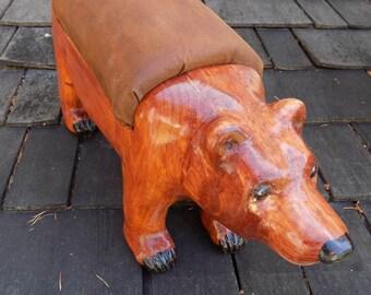 Brown Bear Wooden Footstool