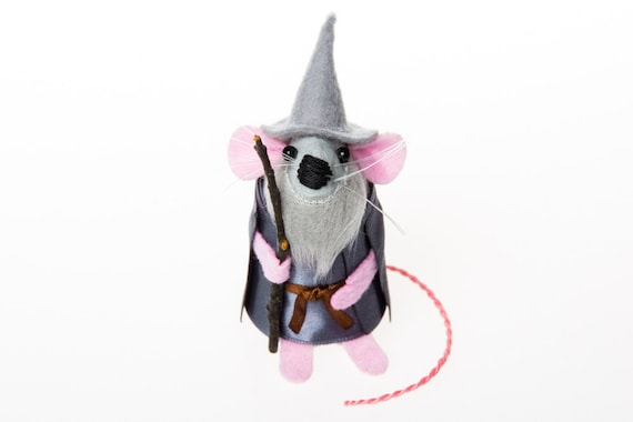 Gandalf the Grey Mouse ornament Lord of the Rings Artisan felt rat hamster mice cute gift for LOTR collectors - Gandalf the Grey Mouse