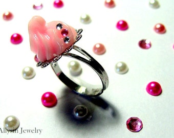 Whipped Cream Ring, Pastel Pink, Gunmetal Ring, Fairy Kei Kawaii Food Jewelry