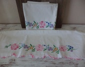 Vintage pillowcases pair white with pink yellow blue green hand cross stitched roses and flower with scalloped crocheted edge set # 16
