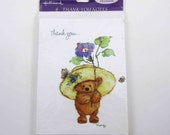 Vintage Hallmark Mary Hamilton Bear in Hat Thank You Note Cards in Original Package