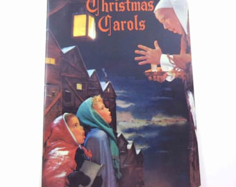 Vintage Christmas Carols Song Book with Children Carolers Man Village on Cover