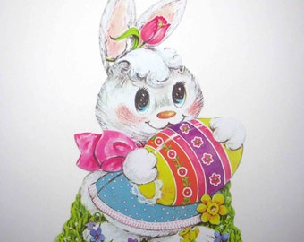 Vintage Die Cut Cardboard Easter Decoration with Rabbit Holding an Easter Egg