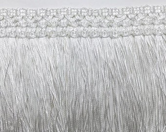 3 to 6 yards of White Long Tassel Trim  Chainette Fringe - 4 1/4 inch or 11 cm