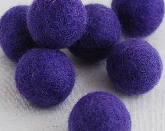 2.5cm Felt Balls - 20 Count - Purple