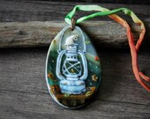 October- Sweet Little mouse in the night - Necklace, fused glass pendant,  jewelry, mice,  moon- lantern