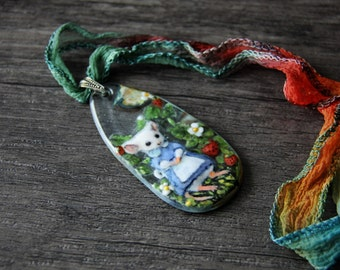 Lady mouse in the garden - fused glass pendant