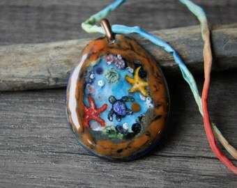 Tidal pool - Fused glass pendant - beach jewelry - baby sea turtle