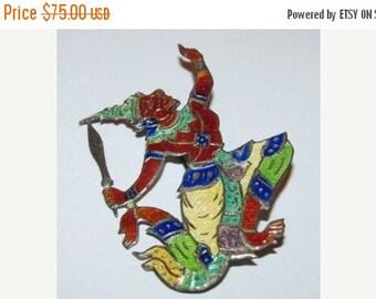 Sale Vintage Sterling Myan Warrior Pin, Brooch, Praying to the Gods, Aztec, Tribal, 13J