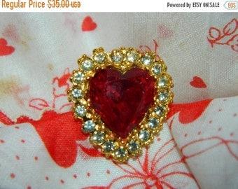 Valentines Day Sale Vintage Rhinestone Valentine Heart Ring, Adjustable, Gold & Red, Cupids Heart, Valentines Day Jewels