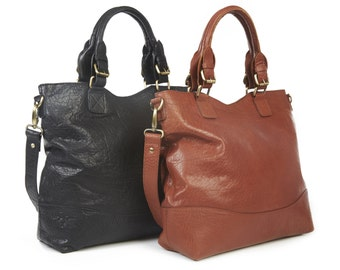 Black leather handbag/ black leather tote/ black leather purse/ black leather bag