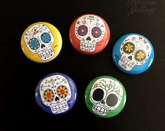 "Sugar Skulls 1"" pin set"