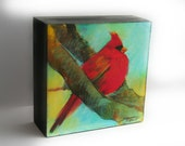 Autumn Cardinal, 4x4 inches and 1.75 inches deep, #Original art,#Cardinals #bird art, nature decor, colorful art, #Office gifts