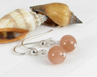 Bold Apricot Moonstone and Sterling Silver Earrings