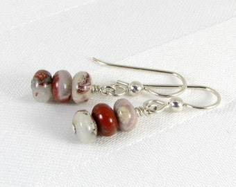 Poppy Jasper Rondelles and Sterling Silver Earrings