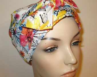 Summer Floral  Chemo Scarf, Hat, Cancer Hat, Hijab, Alopecia MADE in USA