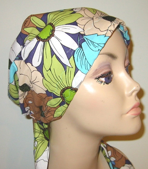 Floral Cotton  Chemo Scarf, Hat, Cancer Hat, Hijab, Alopecia, Modest Headwear