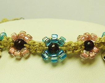 Pink Blue Daisy Hemp Bell Anklet   handmade Macrame jewelry  hippie womens girls