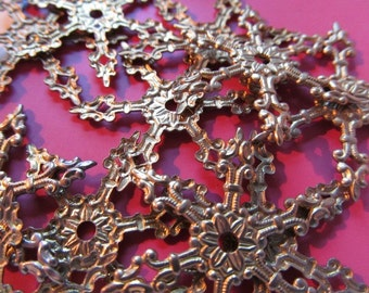 Vintage Brass Snowflake Findings (6) Nice Patina