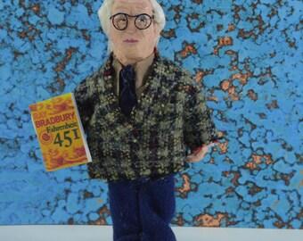 Ray Bradbury Doll Miniature Author of Fahrenheit Sci Fi Art Character