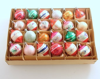 Vintage Glass Christmas Ornaments, Feather Tree, Small Ornaments, Poland, Box of 24