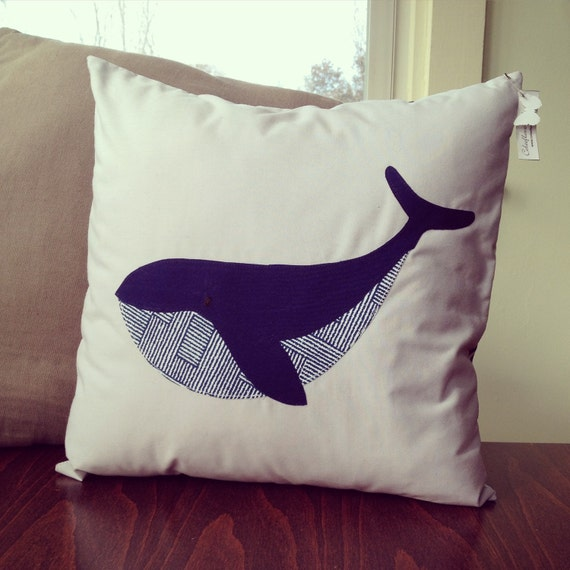 throw pillow cover nautical blue whale decorative pillow