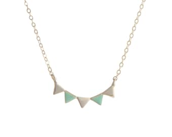 Dainty silver garland enamel necklace // Sterling silver pennant necklace