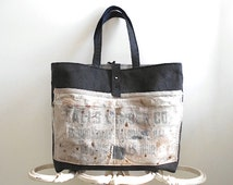 Lumber apron canvas leather tote, shoulder bag, Falls Lumber Cuyahoga Falls OH - men unisex - eco vintage fabrics