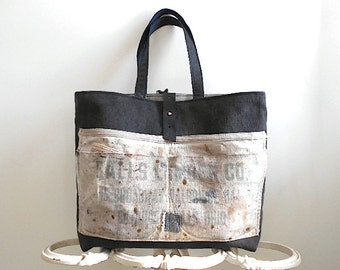 Lumber apron canvas leather tote, shoulder bag, Falls Lumber Cuyahoga Falls OH - men unisex - eco vintage fabrics