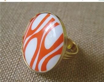 ON SALE Orange Ring, Retro Ring, Vintage Ring