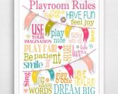 Playroom Rules - Modern Playroom Rules - Modern Nursery Childrens Decor - Kids Wall Art - Nursery Decor - Nursery Wall Art -