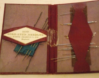 Vintage ENGLAND Needlebook, lots of needles, Leather needlecase, Vintage Sewing, Kirby Beard and Co Ltd