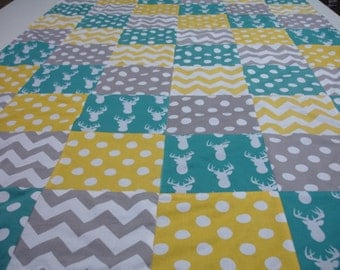 Deer Silhouette Teal Yellow and Gray with Chevron and Dots Minky Blanket You Choose Size and Minky Color  MADE TO ORDER No Batting