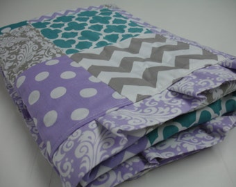 Mixed Geometrics in Teal Lavender Gray with Ruffle Minky Patchwork Blanket You Choose Size and Minky Color MADE TO ORDER No Batting