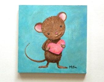 Mouse Original Painting Original Art Cute Mouse Original Love Illustration Original Nursery Art Unique Baby Shower Gift Animal Wall Art MiKa