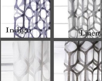 Custom Modern Arch Trellis Sheer Drapes