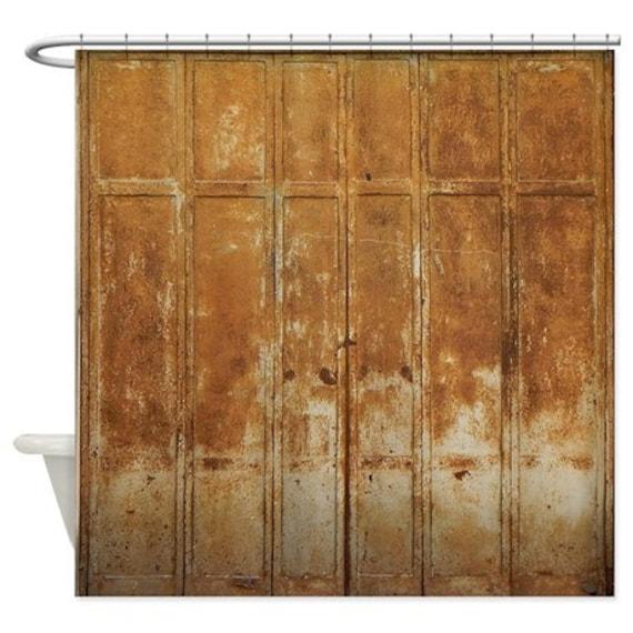 Old Rusty Metal Doors Shower Curtain