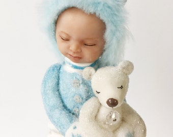 Snow Baby Boy Ornament with teddy bear. blanket gift blue white glitter sleeping baby polar bear baby's first Christmas gift birthday