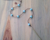 long Y amazonite necklace / handspun and knotted polynesian roping / waterproof / minimalist beauty / tula blue