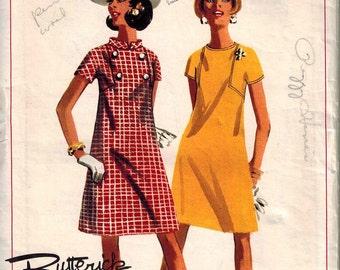 1960s Butterick 4619 Gorgeous Mod Dress Sewing Pattern Vintage Size 14 Boutique Unique