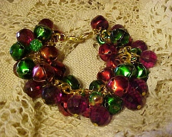 CHRISTMAS CHARM BRACELET Made with Red and Green Christmas Bells and Red/Green Beads to Compliment it~~Happy Holidays~~Ho-Ho-Ho!