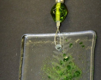 Fern Suncatcher with Green Glass