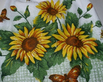 Yellow Sun Flowers on Crocheted Kitchen Towel