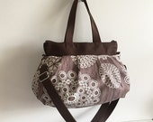 Cross Body Pleated Bag (SMALL or MEDIUM) w/ Adjustable Strap - Knots and Loops in Bark