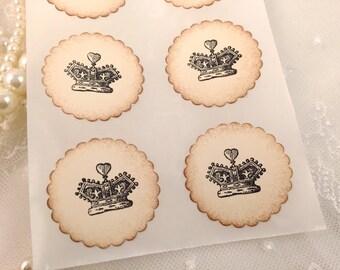 Alice in Wonderland Crown Stickers Seals