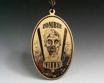 Zombie killer, zombie jewelry, zombie pendant, walking dead, zombie apocalypse, zombie necklace, etched brass, Halloween jewelry, zombie